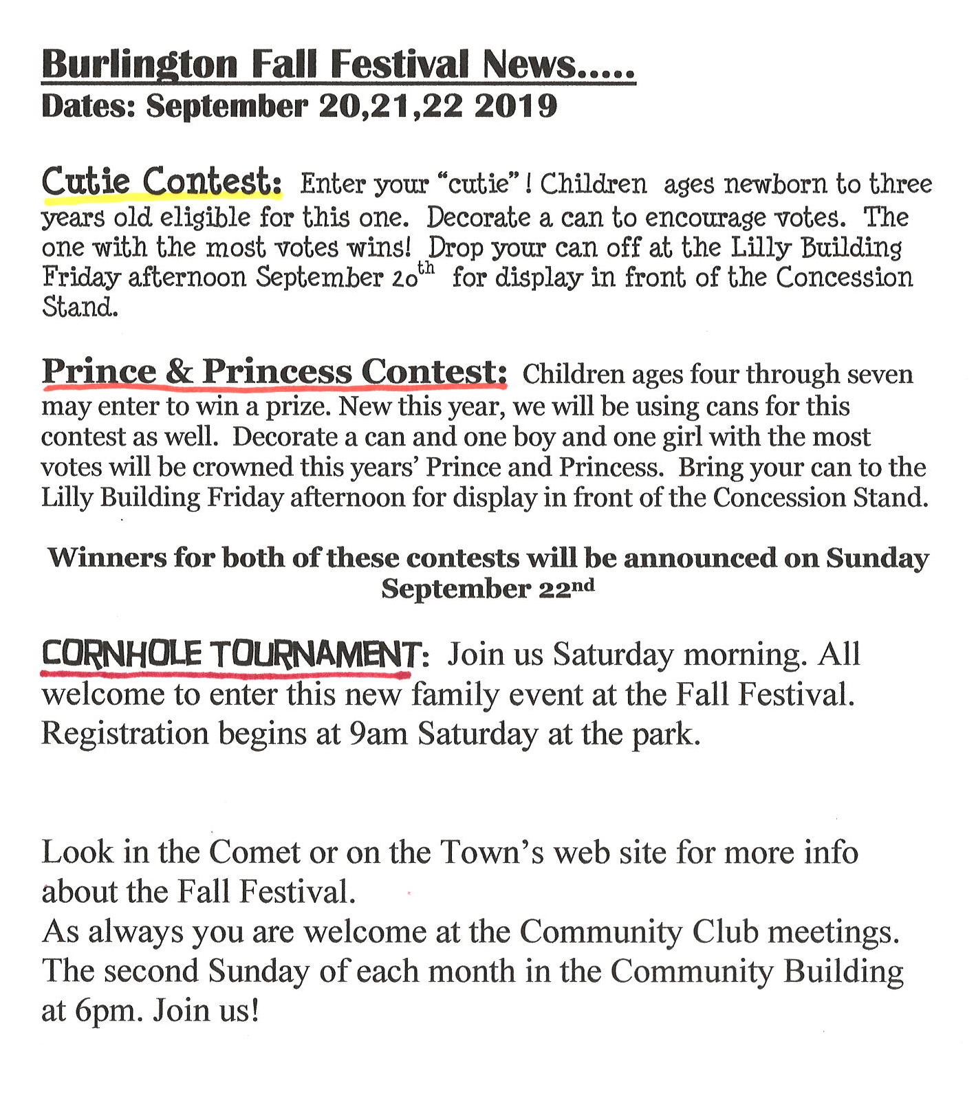 2019 Fall Festival Contest Information